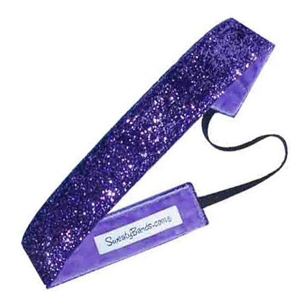 Sweaty Bands Viva Diva Headband, Purple Sparkle, 1-Inch