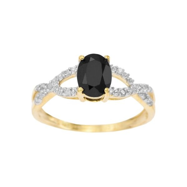 Kareco 9ct Yellow Gold Oval Dark Sapphire And Diamond Set Ring - Size N