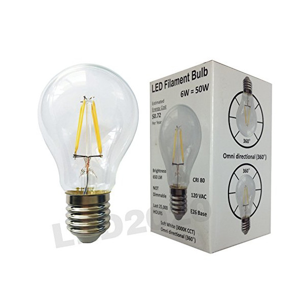 LED2020 LED Filament Bulb A19 Soft White (2700 K) 6W to Replace Inandescent Bulb 50W