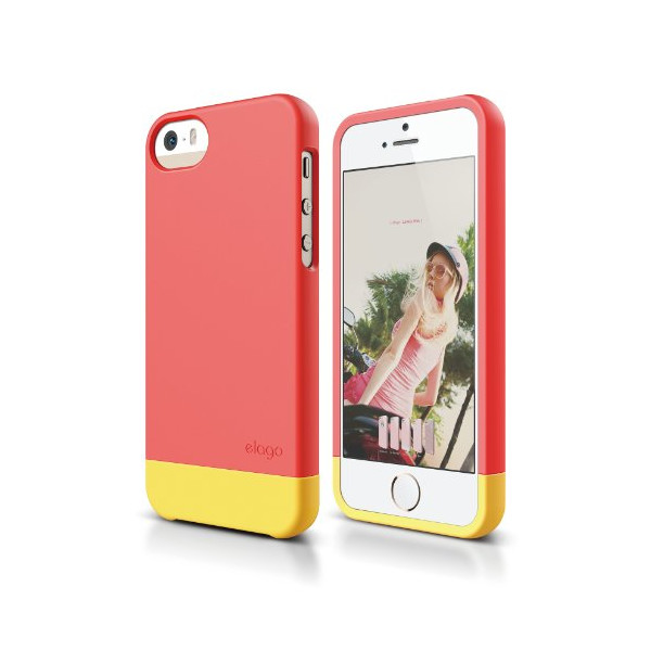 elago S5 Glide Case Limited-Edition for iPhone 5/5S - eco friendly Retail Packaging (Italian Rose / Sport Yellow)