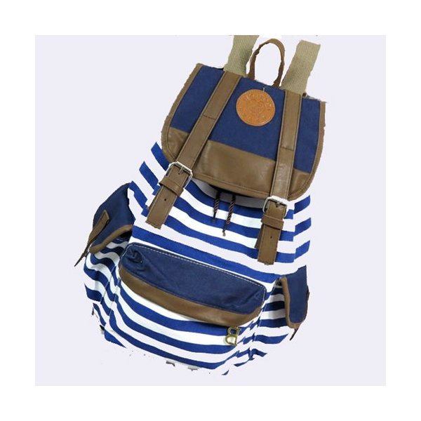 Tobey Black Canvas Backpack School Bag Super Cute Stripe for School Laptop Bag Waterproof Blue