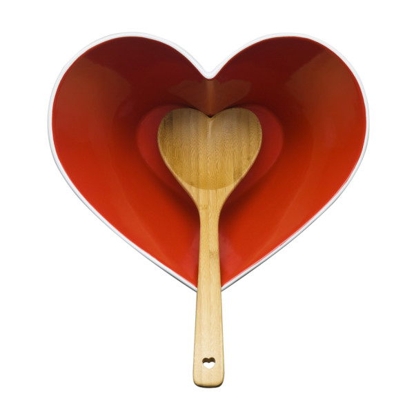 Sagaform Stoneware Heart Bowl with Bamboo Ladle