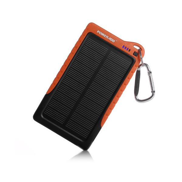 Poweradd™ Apollo 7200mAh Portable USB Charger Power Bank, Constructed with a Solar Panel for Emergency Charging. For iPhone 6 Plus 5S 5C 5 4S, iPods, Galaxy Note 4 3, Galaxy S5 S4 S3, LG G3, Nexus, HTC One M8, Gopro Camera, GPS and More