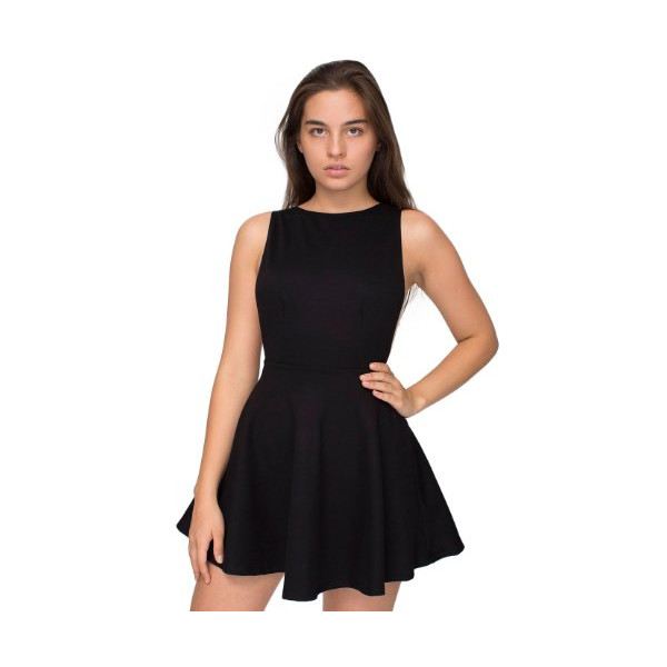 Ponte Sleeveless Skater Dress - Black / L