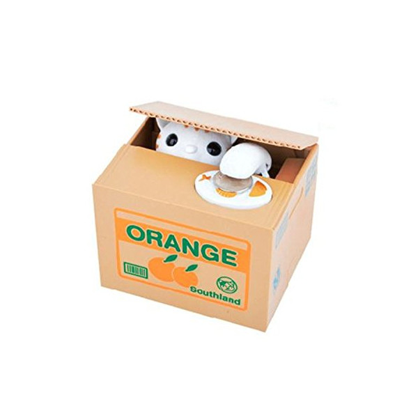Mansa Cute Stealing Coin Cat Money Box Panda Bank, White Cat
