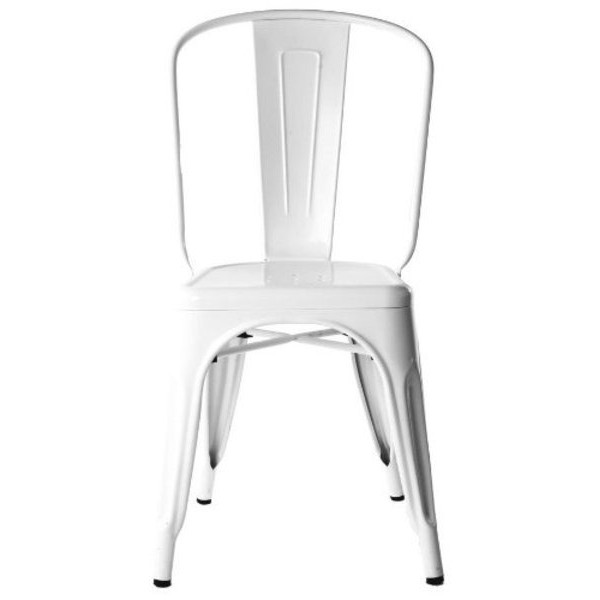 Stella Metal Cafe Side Chair in White Finish