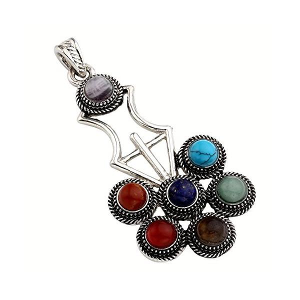 Jovivi 7 Beads Natural Quartz Gemstones Stone Pendant Healing Point Chakra Reiki (Violin Style)