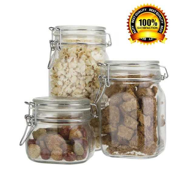 Bormioli Rocco/Paksh Novelty Fido High Quality Airtight Glass Canister /Jar With Lid • Use as Tea - Coffee - Sugar Canister •Wide Mouth / Square Shape / Dishwasher Safe / Set of 3 / Made in Italy...