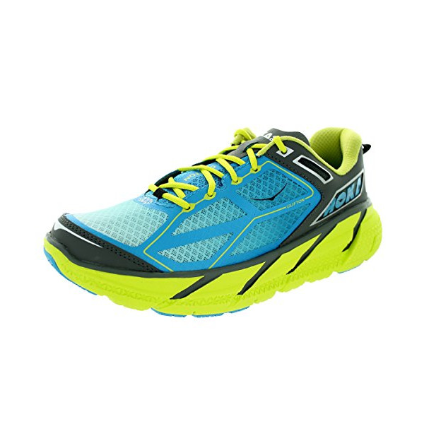 Hoka One One Men's M Clifton Citrus/Cyan/Grey Running Shoe 11 Men US