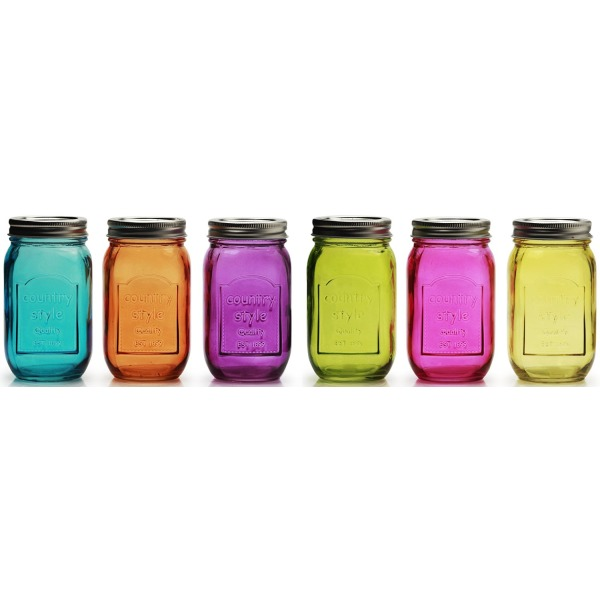 "Circleware© Multi-Color Glass Mason Jars with Metal Lids, Set of 6 Drink Cups, 16.5 Ounce, Limited ""Country"" Edition Glassware Drinkware"