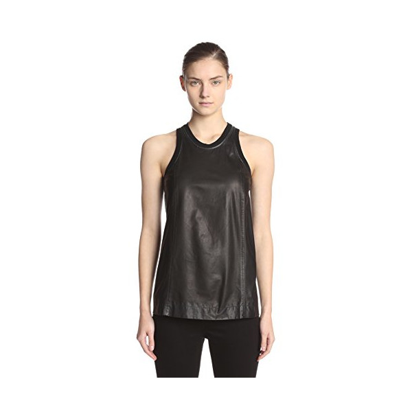 Helmut Lang Women's Leather Sleeveless Top, Black, Medium
