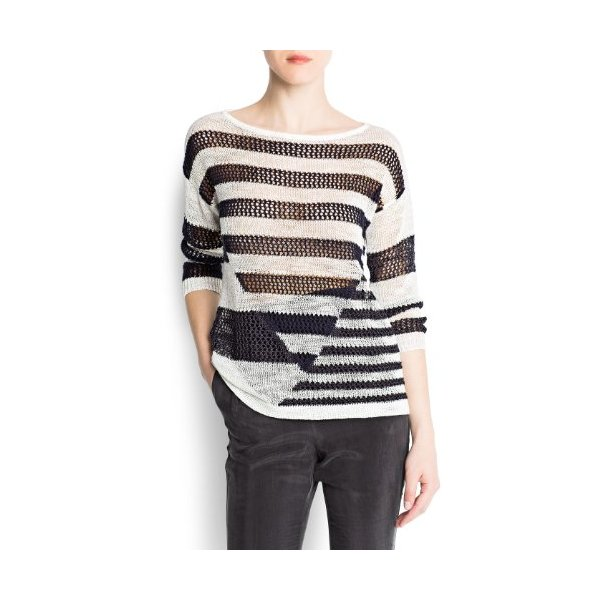 Mango Women's Striped Mix Jumper, Off-White, Xs
