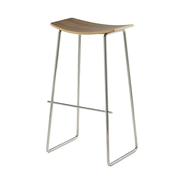 AEON Furniture Timber Barstool in Walnut and Stainless Steel