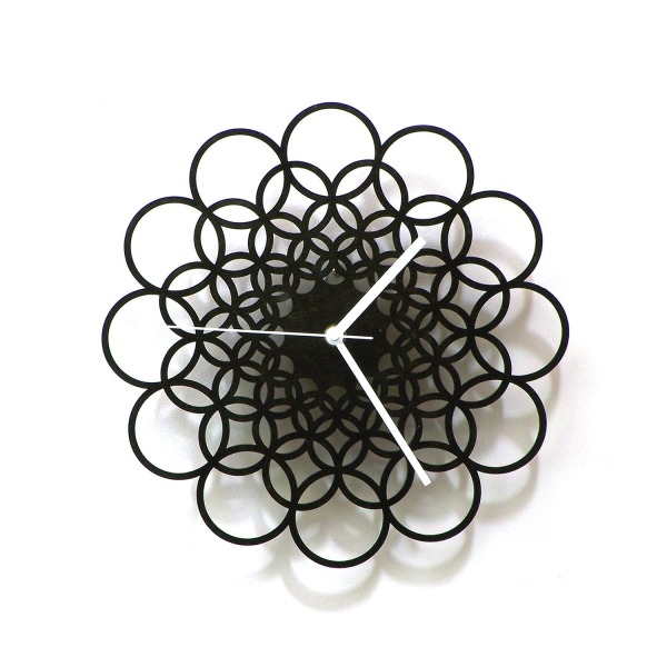 Rings - unique contemporary wooden wall clock made of natural materials, wall art