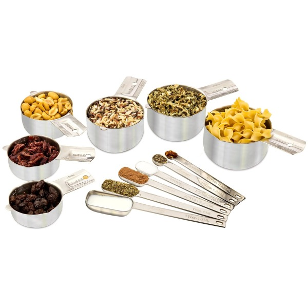 Stainless Steel Measuring Cups and Spoons ★ 12-Piece Set ★ 6 Stackable Cups & 6 Spoons to Measure Dry and Liquid Ingredients by Acutos