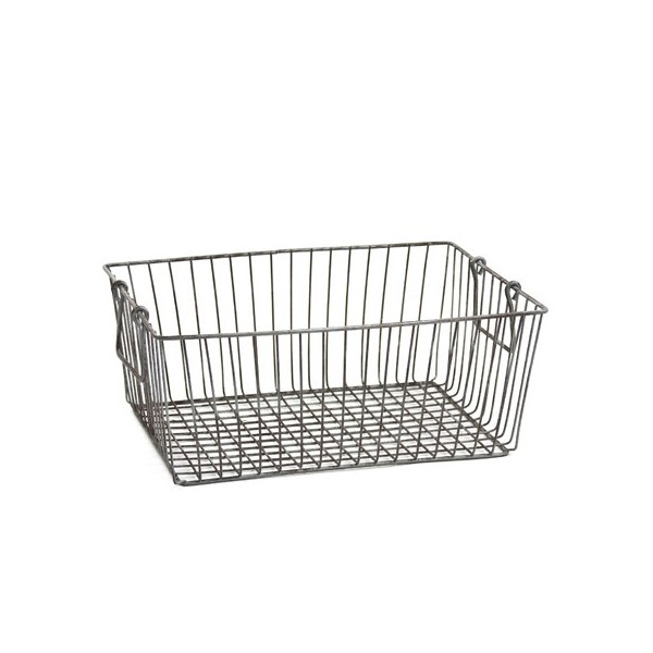 Shabby Cottage Chic Large Rectangle Wire Basket Handles