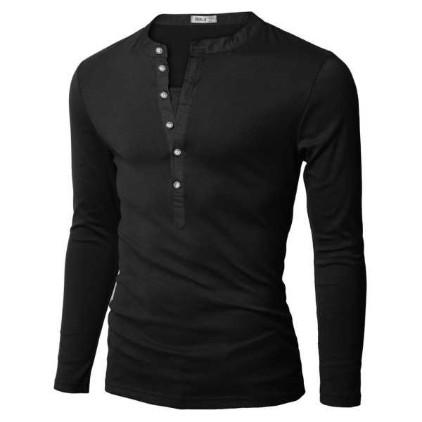 Mens Casual Lined Henley Shirts