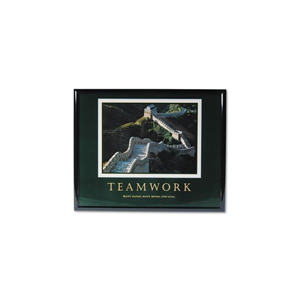 "Teamwork/Great Wall Of Chin"" Framed Motivational Print, 30 x 24"