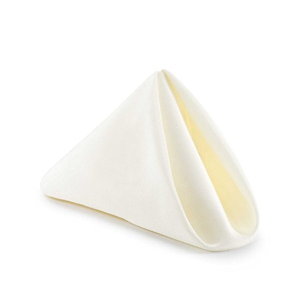 Lann's Linens - 1 Dozen 20 in. Cloth Dinner Napkins w/ Hemmed Edges - Ivory