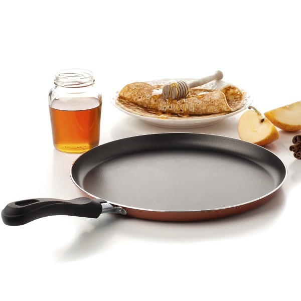 Large Crepe Pan 10 Inch Nonstick Coating and Bakelite Handle - Easy pancakes omelette fried eggs tortilla pancake pita bread Cookware - Best Crepes Pan Designed with Its Low Sides and Rounded Base durable
