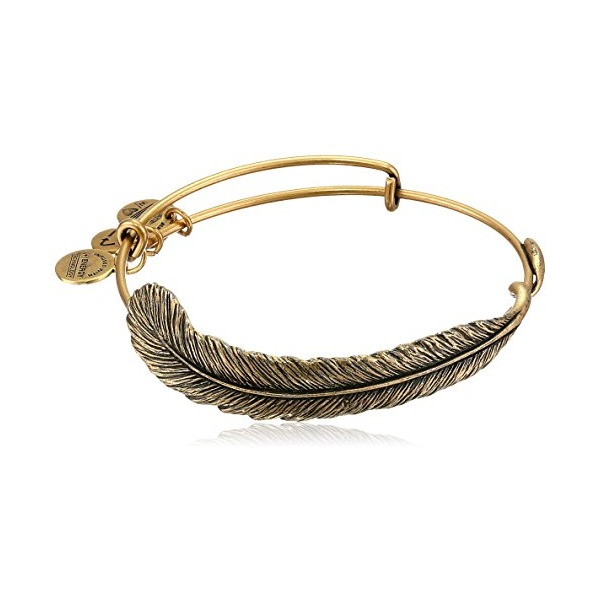 "Alex and Ani Spiritual Armor ""Plume"" Rafaelian Gold Finish Bangle Bracelet, 7.75"""