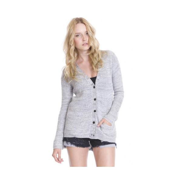 One Grey Day's Emma Knit Cardigan Long Sleeve Sweater Mid Length for Women-L