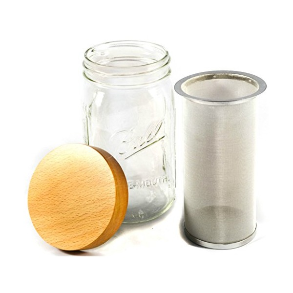 Simple Life Cycle Quart Mason Jar Cold Brew Coffee Maker & Iced Tea Maker - With Wooden Lid & Stainless Steel Filter (32oz)