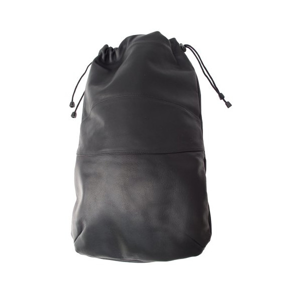 Piel Leather Drawstring Shoe Bag, Black, One Size