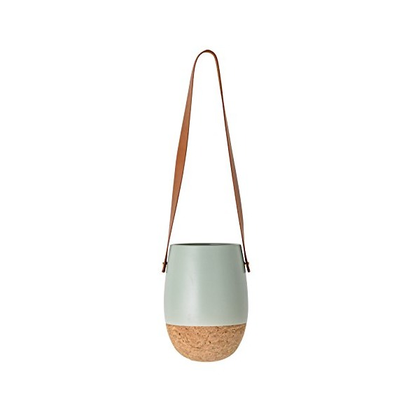 Bloomingville A32602166 Round Ceramic Hanging Flower Pot with Cork Bottom & Leather Strap, Matte Green