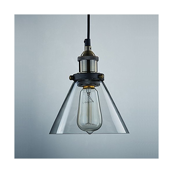 Ecopower Industrial Edison Antique Glass 1-Light Mini Pendant Hanging Light