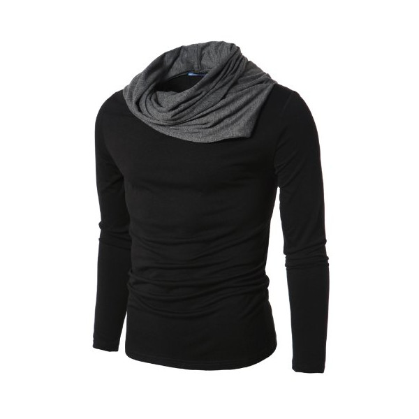 Doublju Mens Shirring Turtleneck Shirt
