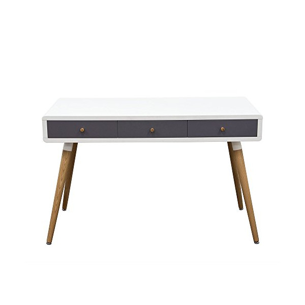 Two-Tone Retro 3-Drawer Desk Table by Diamond Sofa, Includes Cabinet, Legs- # SONICDESK