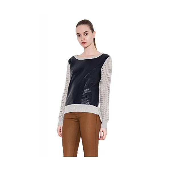 Jade Leather Bonded Pointelle Perforated Sweater for Women One Grey Day, Gray-XS