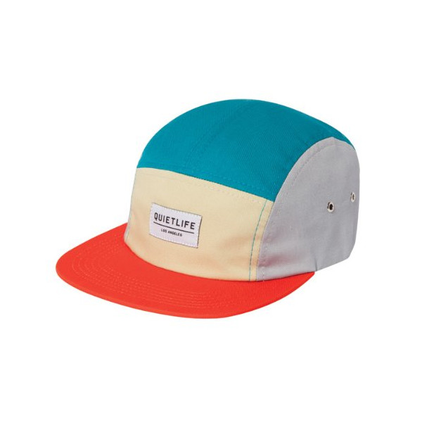 Quiet Life: Quad 5-Panel Hat - Orange / Turquoise