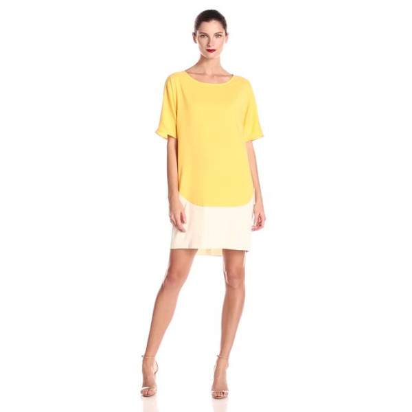 Donna Morgan Women's Dolman Sleeve Color Blocked Dress, Flan/Enamel, 2
