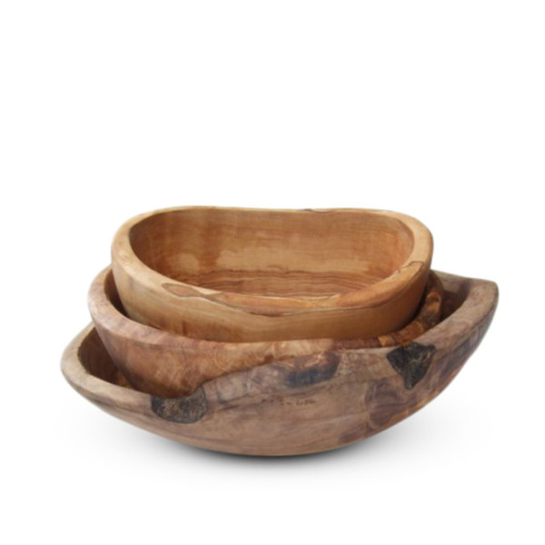 Olive Wood Rustic Bowls, Set of 3