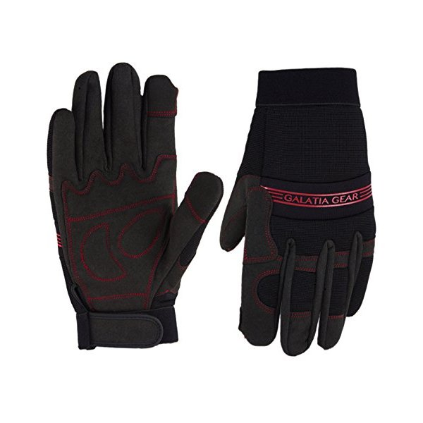 Synthetic Leather Work Gloves - Mechanic/Machine/Tactical/Utility - Tear Vibration Temperature Cut Resistant- Reinforced- Touch Screen Function- Red/Black- One(1) Pair- Satisfaction Guaranteed- Limited 1 Year Warranty [Large]