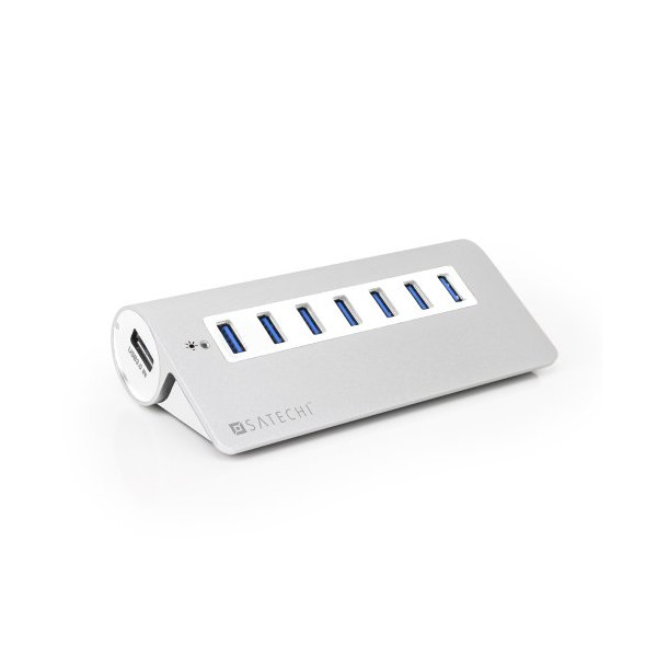 Satechi 7 Port USB 3.0 Premium Aluminum Hub (White Trim) for iMac, MacBook Air, MacBook Pro, MacBook, and Mac Mini