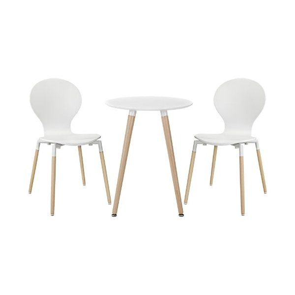 Modern Contemporary Dining Chairs and Table Set of Three White
