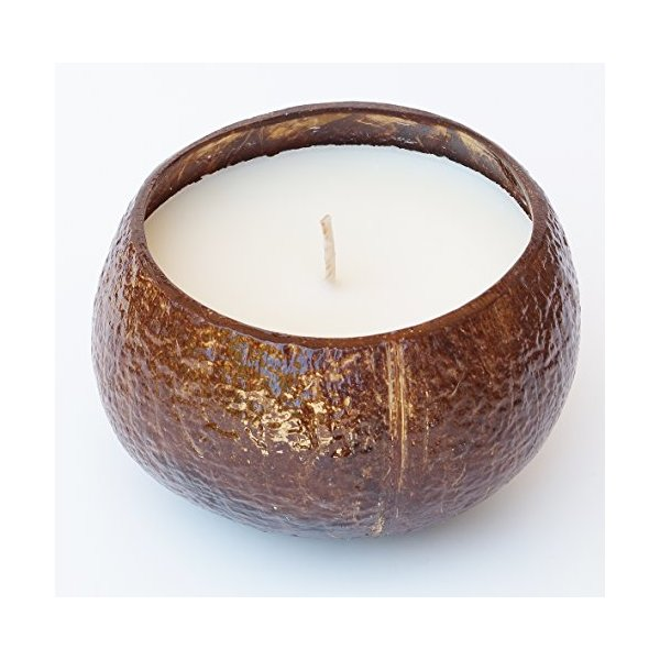 Big 16oz Coconut Scented Soy Candle in Real Coconut Shell - Made with 100% NATURAL SOY WAX, Essential & Natural Oils - 100% NATURAL SOY WAX is Non Toxic, Non GMO, Burns Clean and No Black Soot - Also Great for Aromatherapy, Luau Party & MORE - 100% Satisf