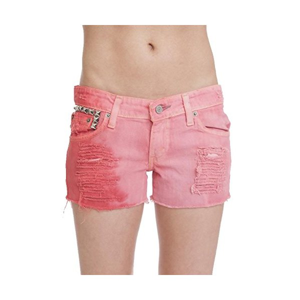 Tiffany Women's Low Rise Ombre Dip Dye Studded Shorts-Red-L