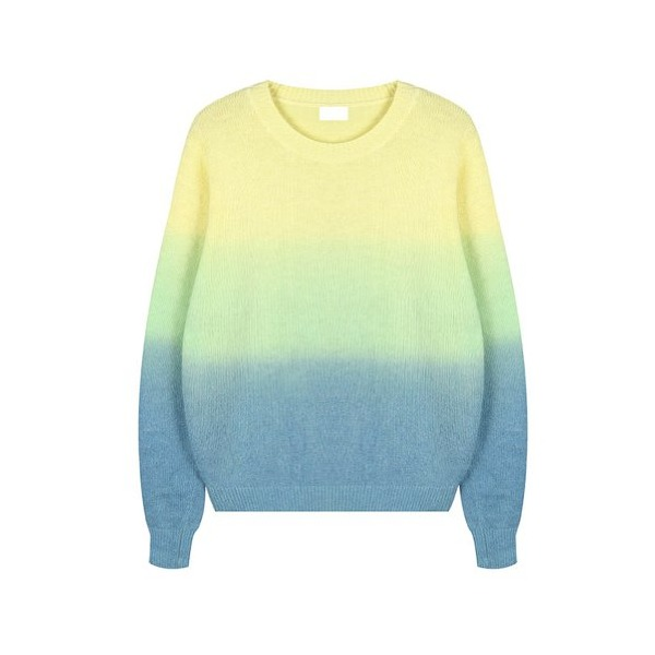 ZLYC Fluffy Dip Dye Gradient Colorful Knitted Jumper for Girls (yellow)
