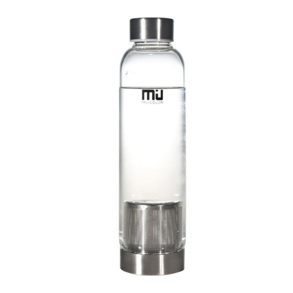 MIU COLOR™ Stylish Portable Real Borosilicate 18.5-ounce Glass Bottle with Tea Strainer and Nylon Sleeve