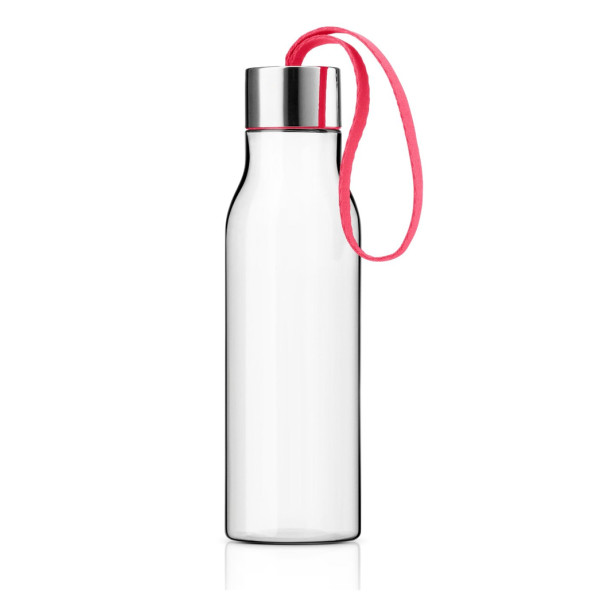 Eva Solo Drinking Bottle, 0.5-Liter, Clear with Teaberry Strap
