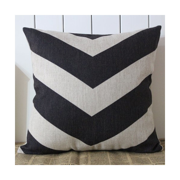 Decho Black Arrow Zig Zag Chevron Cushion Cover Pillow Case