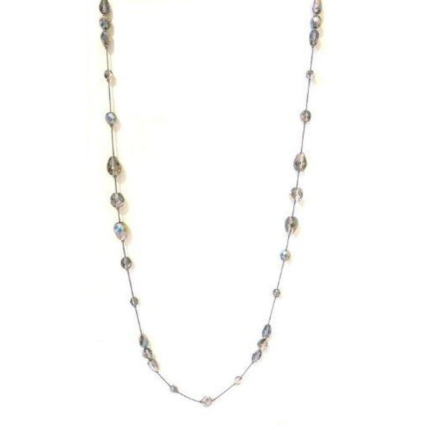32 Inch Long Necklace for Women Handcrafted Silver Czech Glass and Crystal Bead