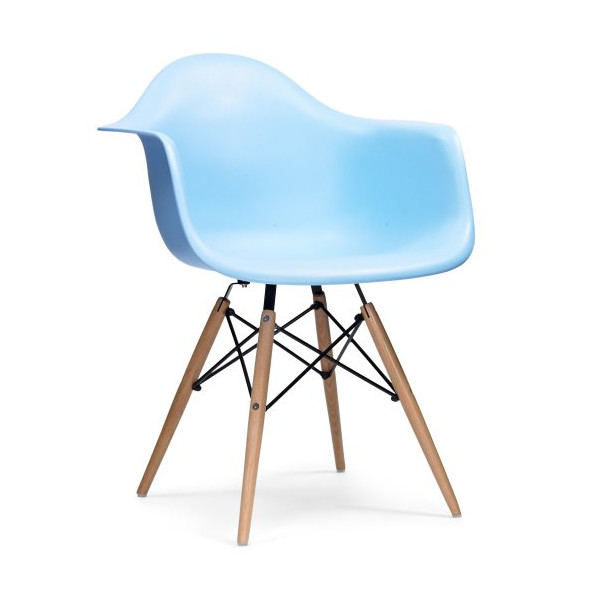 Eames Style Plastic Shell Chairs, Blue, Set of 2