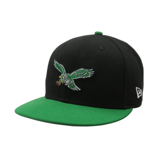 NFL Philadelphia Eagles Historic Logo 59Fifty Fitted Cap, Black/Green, 7 3/8