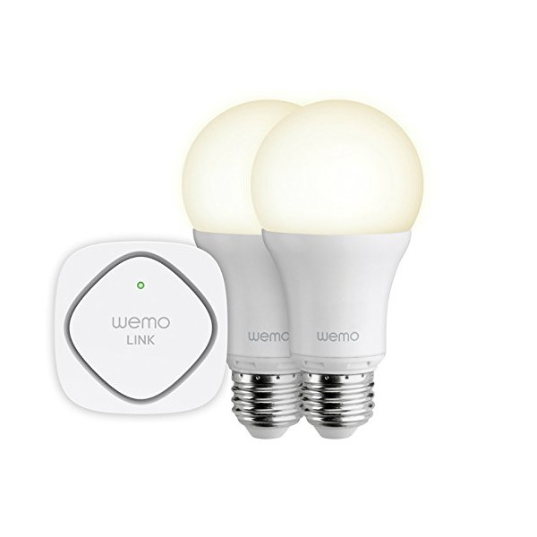 Belkin WeMo LED Lighting Starter Set: Two WeMo Smart Light Bulbs and WeMo Link to Control Multiple WeMo Bulbs from Anywhere, Wi-Fi Enabled (F5Z0489)