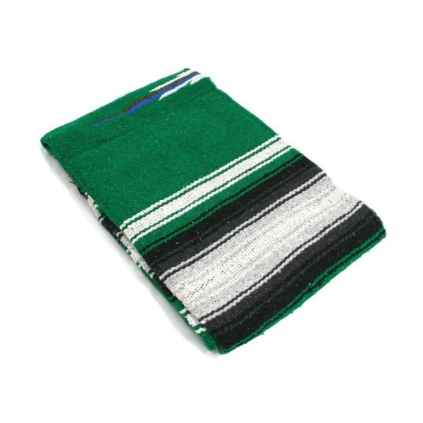 Hand Woven Diamond Mexican Yoga Blankets Green